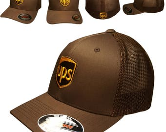 fc62ca9c929 UPS Embroidered Trucker Mesh Flexfit Baseball Hat   OSFM 6 3 4 - 7 1 2