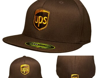 e0e3ca9fd0c UPS Flexfit Hat BROWN Flatbill ProStyle Available S M or L XL United Parcel  Service 6210 Flexfit Cap