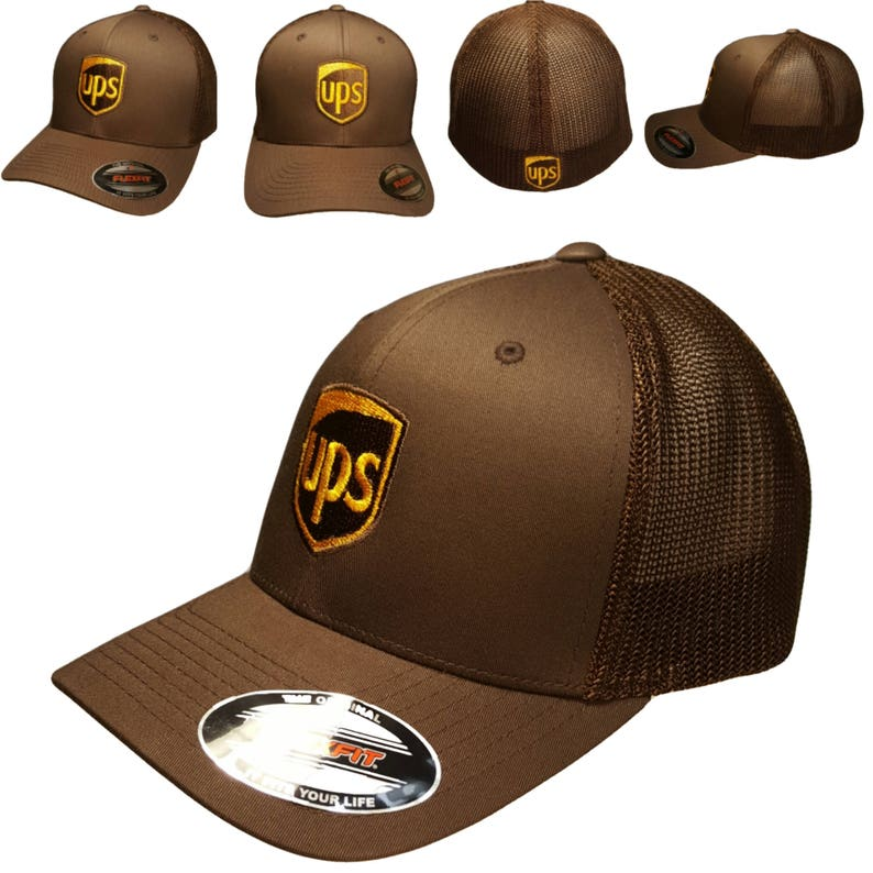 fca25785d9f6a UPS Embroidered Trucker Mesh Flexfit Baseball Hat   OSFM 6 3 4
