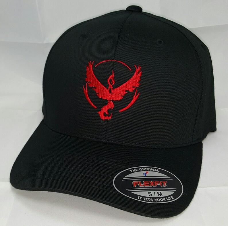 Pokemon GO Team Valor Embroidered FLEXFIT Baseball Hat   Black  eaad3b873ef3