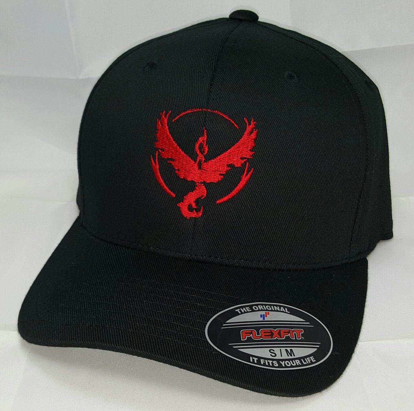 9c17508e Pokemon GO Team Valor Embroidered FLEXFIT Baseball Hat / Black Hat Flexfit  S/M or L/XL Baseball Cap