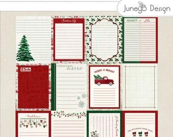 Holly Jolly Christmas Pocket Cards, Christmas Pocket Scrapbook Cards, Digital Journal Cards, Printable Pocket Cards