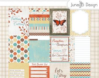 Boho Fall Pocket Cards, Fall Journal Cards, Digital Scrapbook Pocket Cards, Autumn Pocket Scrapbook, Digital Journal
