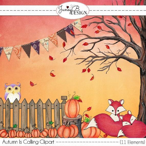 Fall Clipart Autumn Graphics Fox Art Owl Graphics Autumn ...