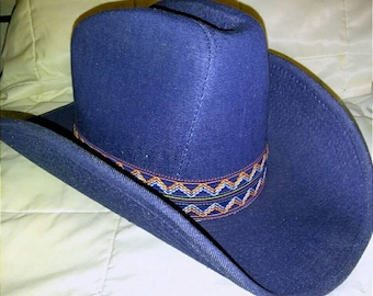 Blue Jean Cowboy Hat Vintage 1980s YA Youngan Hats small 6 3 4 - 6 1 8 Denim  free S H Excellent condition 6cbed713e6e