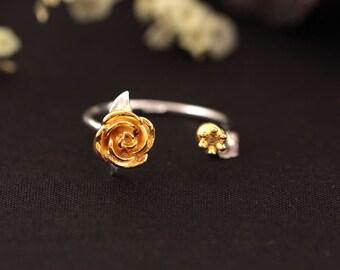 Rose silver ring Size adjustable