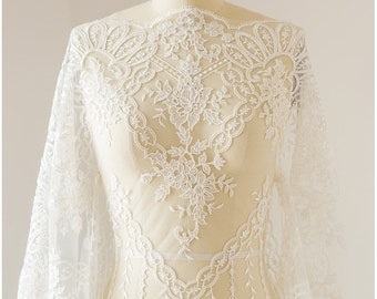 Modern bridal lace fabric,  embroidered lace, French lace, elaceembroidery, wedding dress lace fabric, flower lace, sequin lace (L17-128)