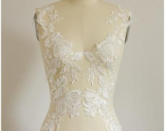 LARGE  mirrored SEQUIN wedding dress appliqué, Flower appliqué, large Lace Flower,  Illusion Back Lace, flower lace - (A17-051)