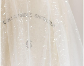 TRANSLUCENT Sequin lace, very soft sequin tulle fabric for bridal dresses, Off-White lace sequin mesh with translucent sequins (L17-076P)