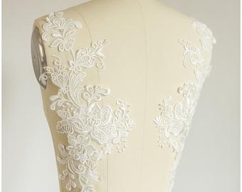 2pc. mirrored lace flower applique - OFF-WHITE - Lace flowers, lace patch, bridal dress appliqué, wedding dress lace -(A17-056)