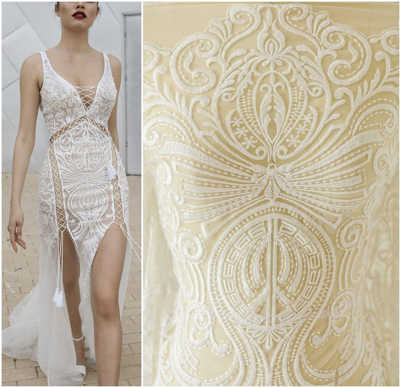 VERY SOFT COTTON bridal lace Fabric off-white Lace Wedding ...