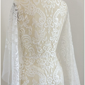L17-044 Alencon Lace Mesh lace fabric SOFT embroidered bridal lace Fabric Wedding Lace off-white Lace Guipure Lace -