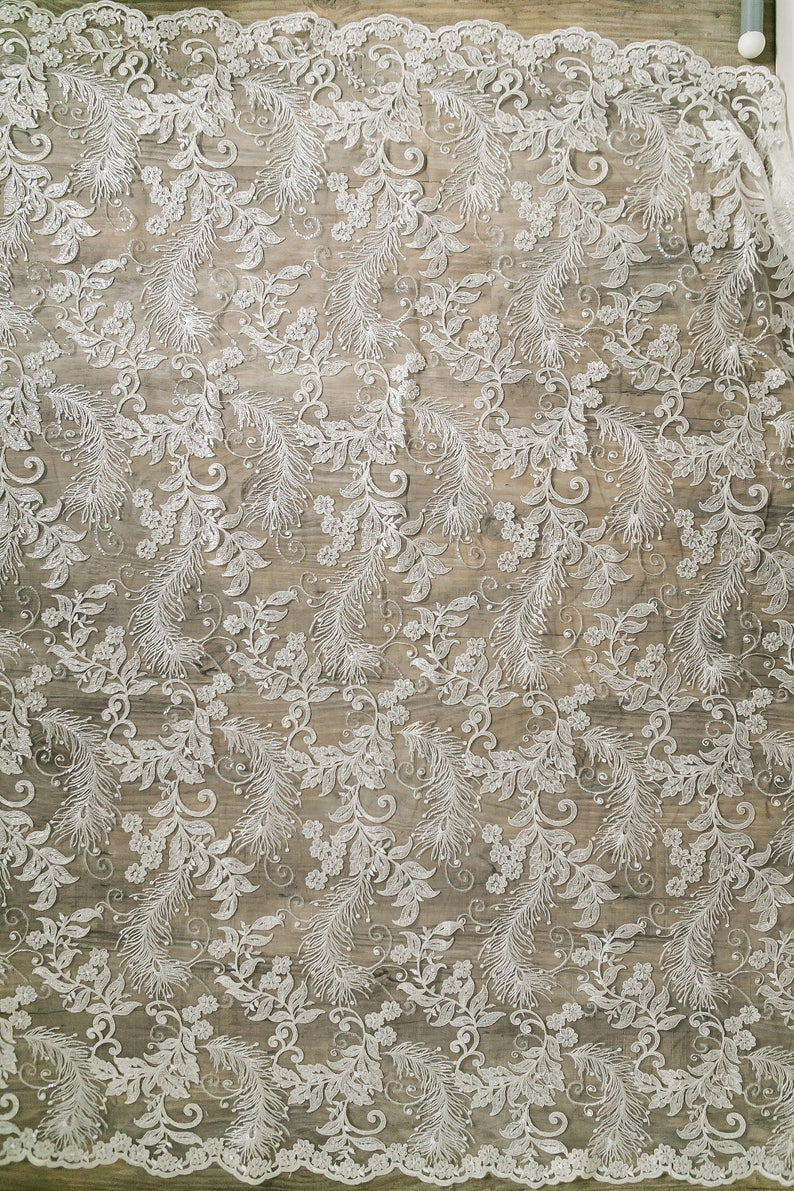 L17-001 Alencon Lace fabric - Feather Lace with sequins wedding lace fabric Beautiful heavy embroidered Flower Bridal Lace
