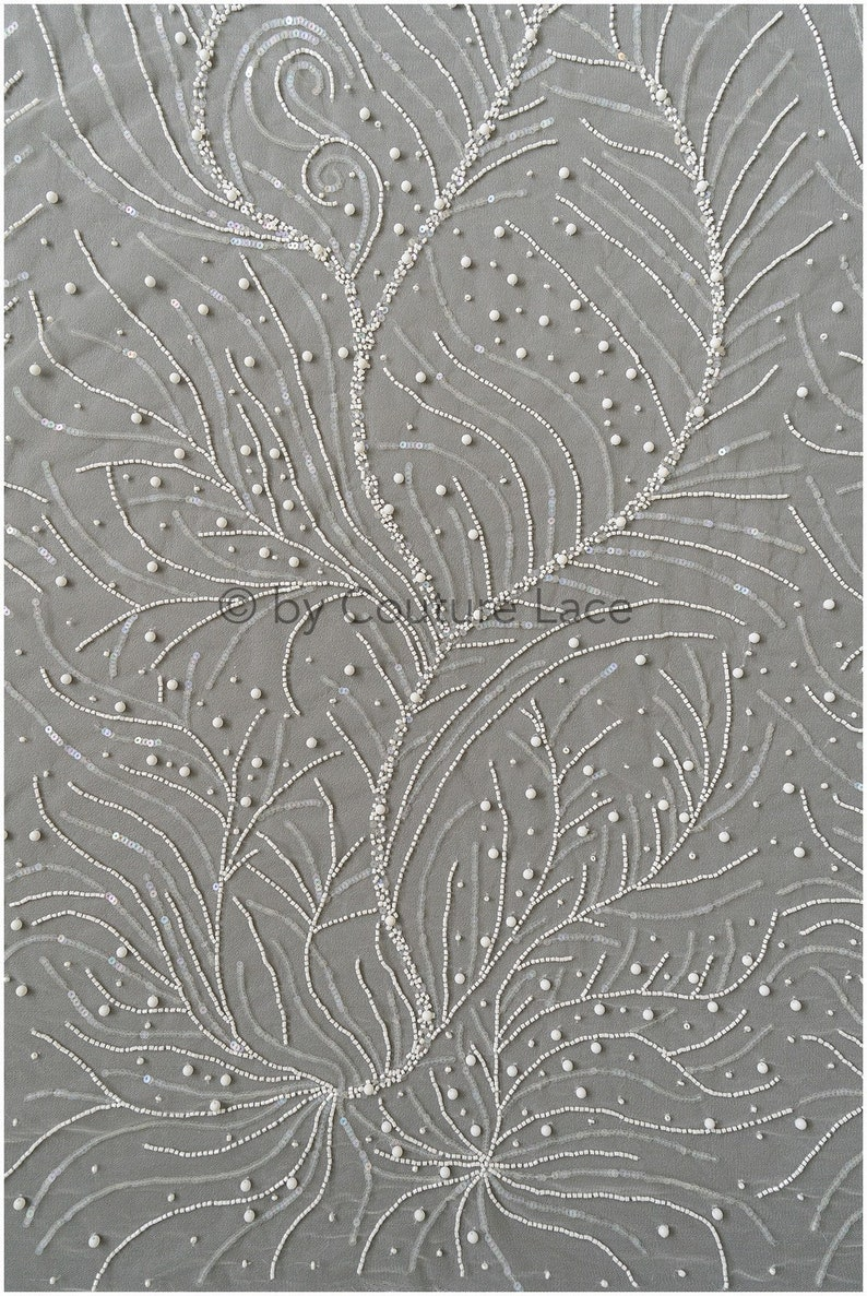 L19-285 Beaded bridal lace fabric Pallas couture weddingdress lace with beads Handbeaded stripe and stars lace fabric for wedding dress
