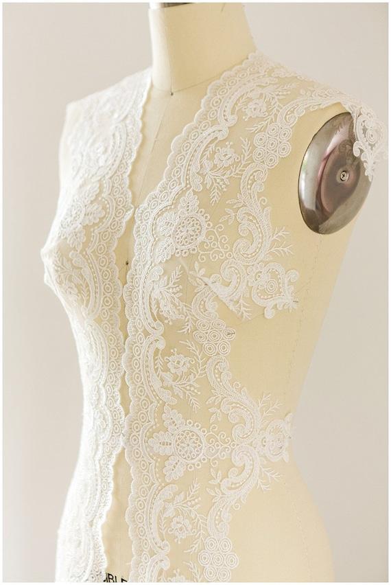 Weddingdress dentelle, bordure en dentelle dentelle voile, bordure en dentelle dentelle de mariée, doux brodé dentelle, broderie de dentelle galon, dentelle de mariée élégant, (T17-047) a17f58