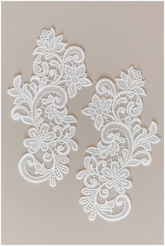 Lait de soie fleur dentelle appliqué, mariée fleur appliqué de fleur applique, fleur en dentelle, dentelle, mariage robe dentelle appliqué, laceflower (A17-141)