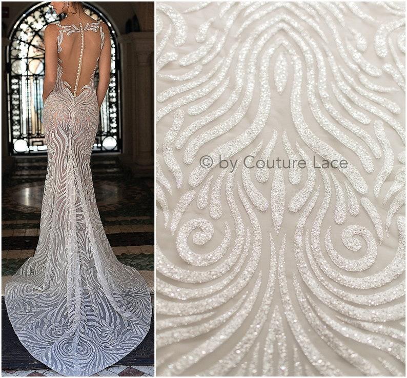 Shiny glitter tulle fabric, Berta Bridal glitter mesh fabric, Bridal dress  fabric with glitter, shiny bridal lace fabric, lace - (L19-236)