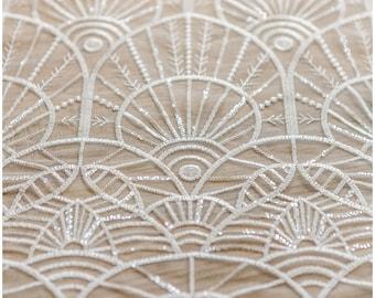 Soft geometric sequin lace, wedding lace fabric, bridal lace, Sequin Lace fabric, Flower lace fabric, wedding dress lace - (L17-048)