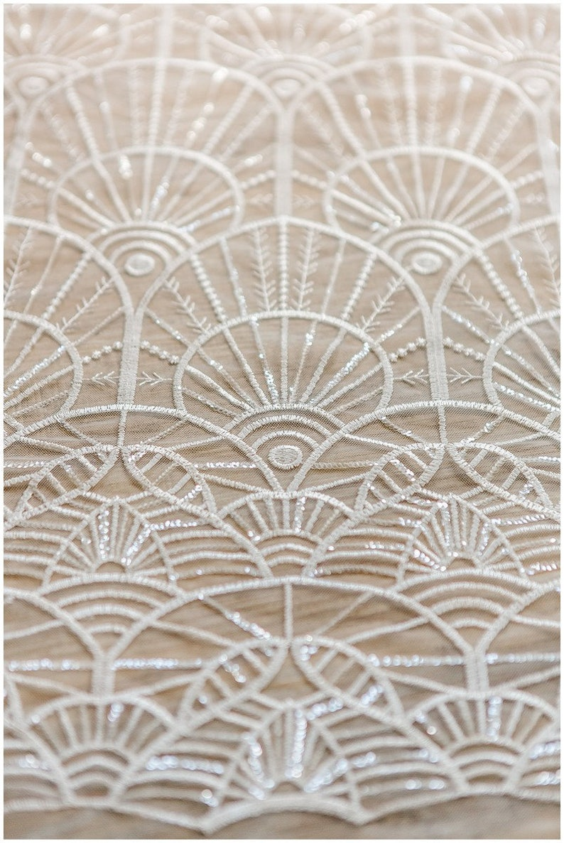 Soft geometric sequin lace wedding lace fabric bridal lace image 0