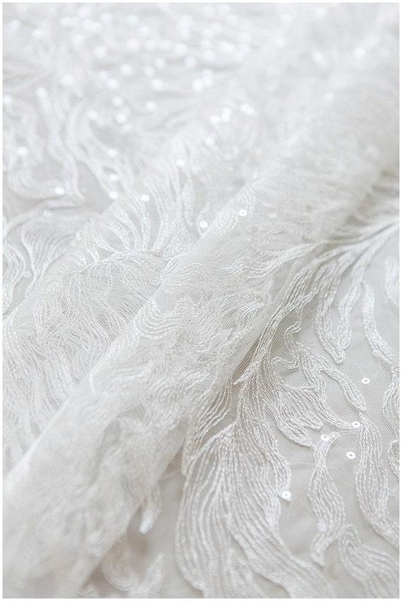 Très doux, fleur dentelle tissu avec paillettes transparents, dentelle (L17-147) plume, doux mariage robe de dentelle, dentelle voile (L17-147) dentelle c72528
