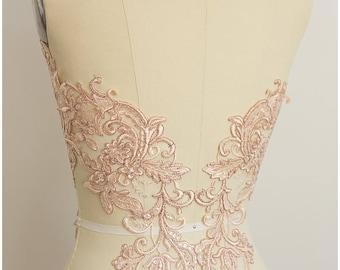 2x ROSÉ GOLD mirrored lace flower appliqué, Lace flower, Wedding dress lace, lace patch, bridal dress appliqué, gold lace (A17-066)