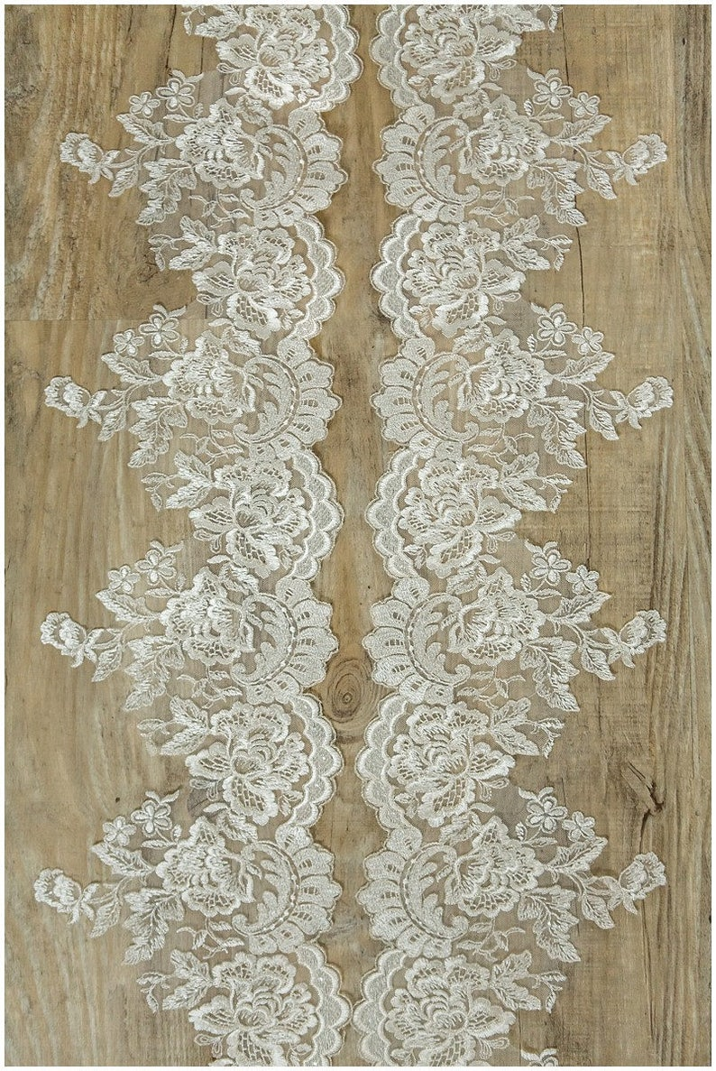 Wedding dress lace trim - Flower Lace Trim lace Applique Pair = 2 yards totall 2x mirrored IVORY SILVER Lace Trim T17-018