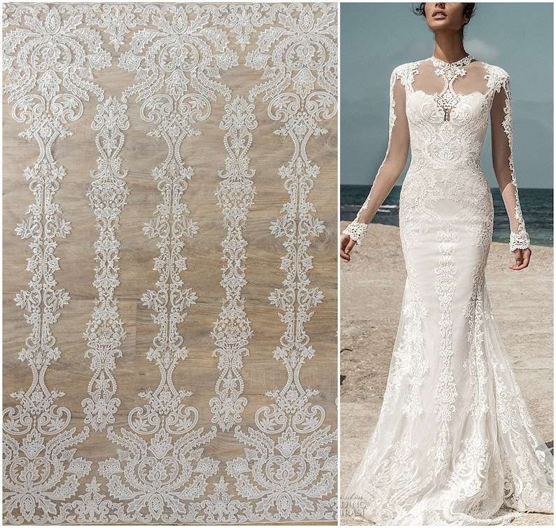 Embroidered lace fabric, modern bridal lace fabric, embroidered lace,  floral bridal lace, bridal lace fabric, floral ornate lace (L17-133)