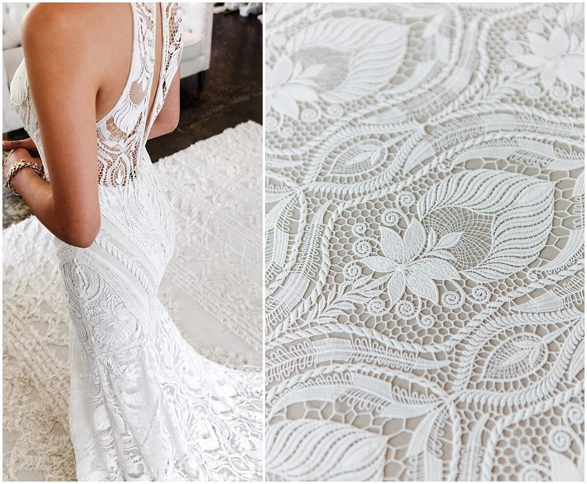 Guipure boho de mariée dentelle, tissus de de de robe de mariage Boho, tissu de dentelle au Crochet, mariée brodé dentelle, dentelle de robe de mariage (L17-175) d7e861