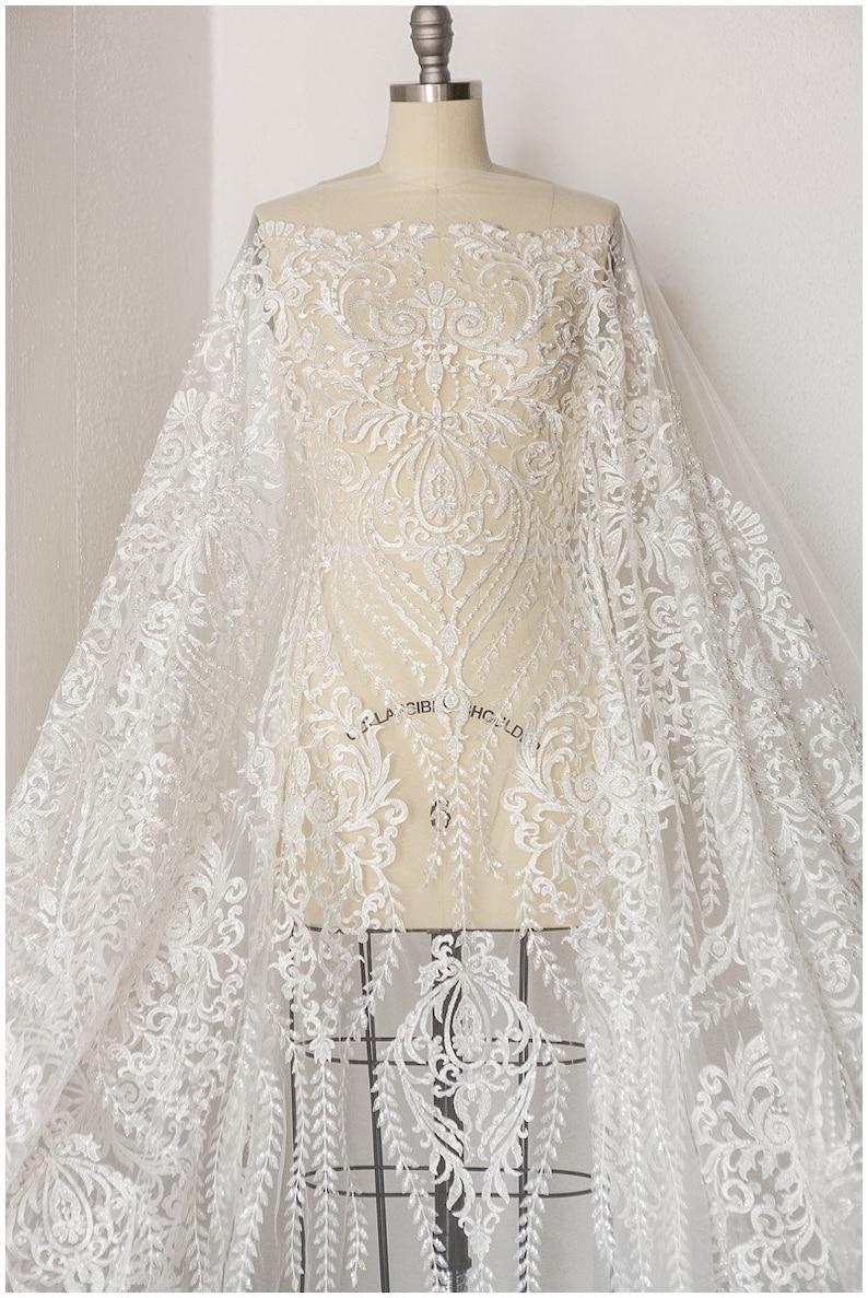 b9c8a220e5b7 Beautiful handbeaded lace fabric Bridal dress fabric Wedding