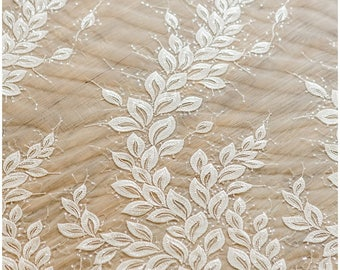 Leaf lace fabric, wedding lace fabric, bridal lace, Couture Lace, Sequin Lace fabric, wedding dress lace, Flower lace fabric - (L17-011)