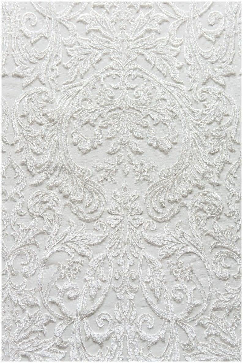 Berta Bridal Embroidery Lace Fabric Ivory Lace Wedding Lace image 0