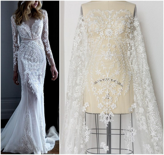 Hand Beaded Bridal Lace Fabric Bridal Dress Fabric Wedding Dress Tulle Pallas Couture Beaded Lace Fabric Leaf Lace Design L17 181