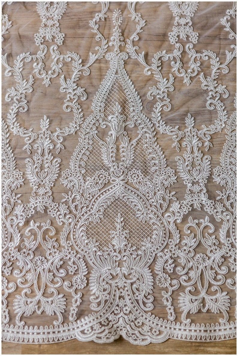 Alencon Lace Ornate Net Lace Fabric for Bridal dresses Net Embroidery Lace High soft Quality Lace Fabric Wedding dress Lace L17-045