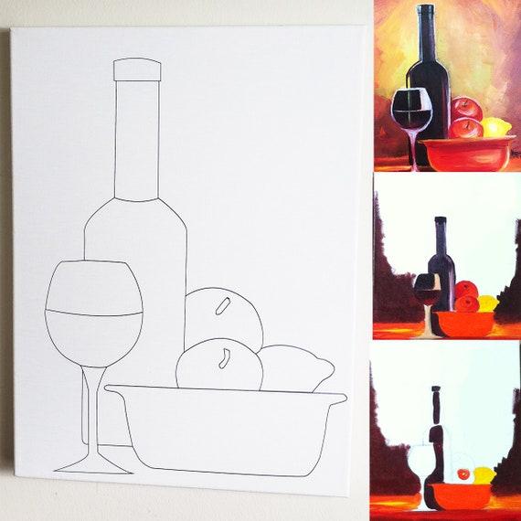Wine Fruits Diy Canvas Wine Glass Wine Bottle Paint Etsy