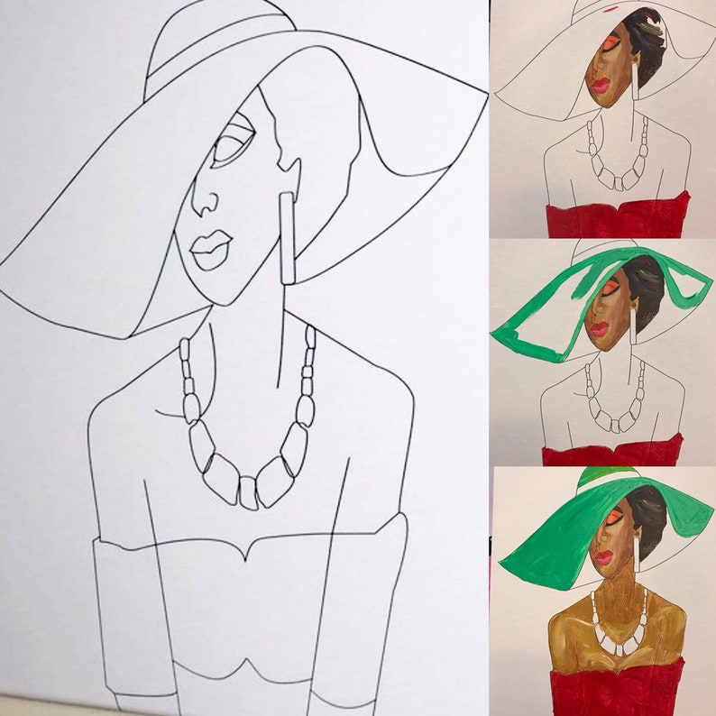 Lady Wearing Hat DIY Canvas Unpainted Canvas Only  Lady in  be4d7b6f102