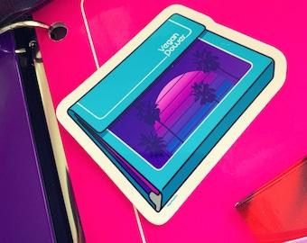 VEGAN POWER STICKERS - 80s School Folder Binder brand parody Vinyl Decals - Retro notebook 90s Palm Trees Vaporwave Sunset Outrun Aesthetic