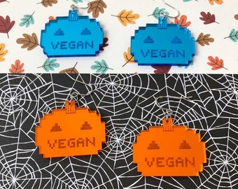 Vegan Pixel Pumpkin Acrylic Earrings - Choose Orange or Teal Blue Mirror Jack O'Lantern Halloween Spooky Cute Spoopy Charm Retro 8 bit style