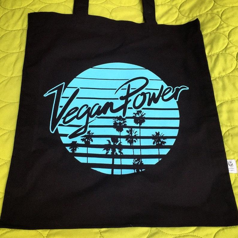 Reusable Grocery Bag VEGAN TOTE BAG Black and Aqua Screenprinted Tote Vegan Power Palm Tree logo bag Vegan Purse