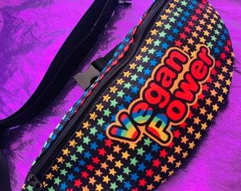 VEGAN POWER Fanny Pack - 80s Rainbow Cartoon style logo - Brite stars on black - travel hip sack belt bum bag crossbody sling belted wallet