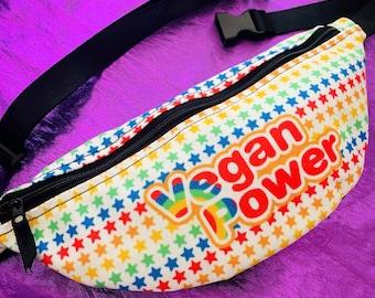 VEGAN POWER Fanny Pack - 80s Rainbow cartoon style Brite stars on white - travel Hip Sack Belt Bum Bag Crossbody Sling purse belted wallet
