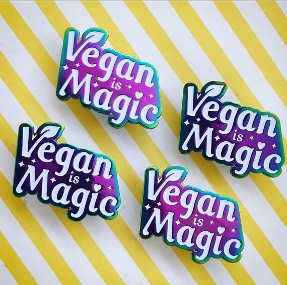 VEGAN IS MAGIC Enamel Pin - Rainbow Anodized Metal Soft Enamel Pin -  Veganism 80s cartoon - iridescent lapel hat pin badge - Vegan Power Co