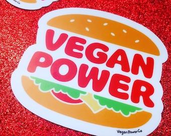VEGAN POWER BURGER Die Cut Sticker - Veggie Burger Decal Bumper Sticker Vinyl