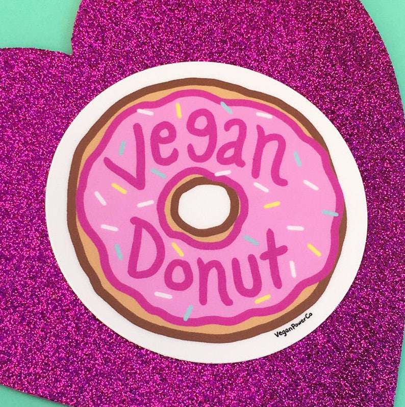 gift Die Cut Lap Top Decal Bumper water bottle Choose Pink or Blue Doughnut Vegan Power Co VEGAN DONUT STICKER