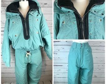 0a82f6d0 1990s Ski Pants and Matching Vintage Ski Jacket Teal Black / Retro Ski Pants  High Waisted Jacket Two Piece Ski Suit / 1990s Retro Ski Outfit