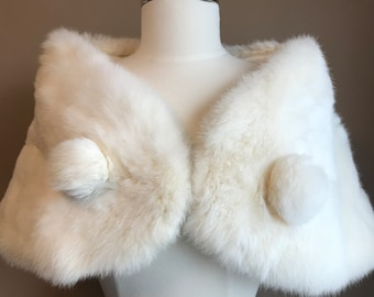 3a216258f Vintage 1960s Genuine Rabbit Fur Stole with Pom Poms and Hook Eye Closure /  Real Winter White Rabbit Fur Wrap Fur Winter Bridal Shawl