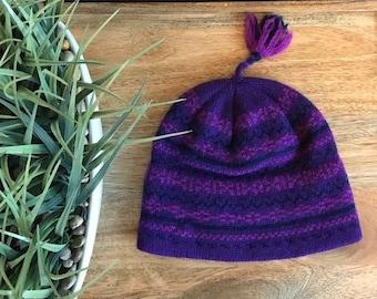 5ae62c6a479 Vintage 1990s 80s Wool Ski Hat Purple Magenta Navy   Retro Wool Winter Hat  with Tassels Ski Hat Mens Ski Hat Womens   Ski Beanie Fairisle