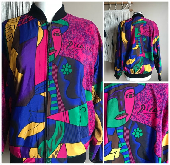 Vintage 80s 90s Silk Picasso Bomber Jacket / 1980s