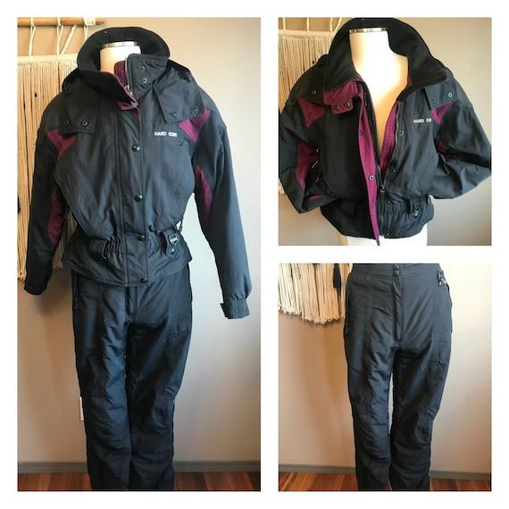 96effc91d63ae3 3 in 1 Cabrio 1980er Jahre harte Korps schwarz Retro Ski Anzug Cabrio Ski  Jacke Skihose / ein Stück Ski Anzug Zip aus Ski-Jacke schwarz