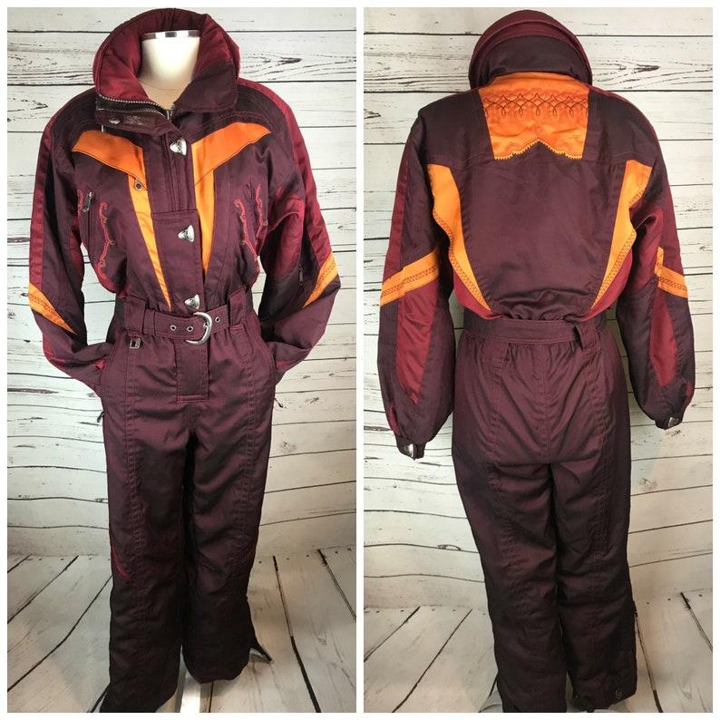 c697fef15 SPYDER One Piece Ski Suit Medium / Vintage Ski Suit One Piece Burgundy Pink  Orange Retro Snow Suit Size 8 / Retro Ski Suit Womens Medium