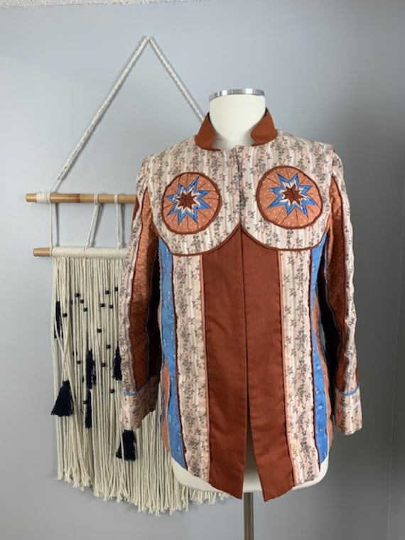 Vintage 1970s Quilted Patchwork Jacket Brown Blue
